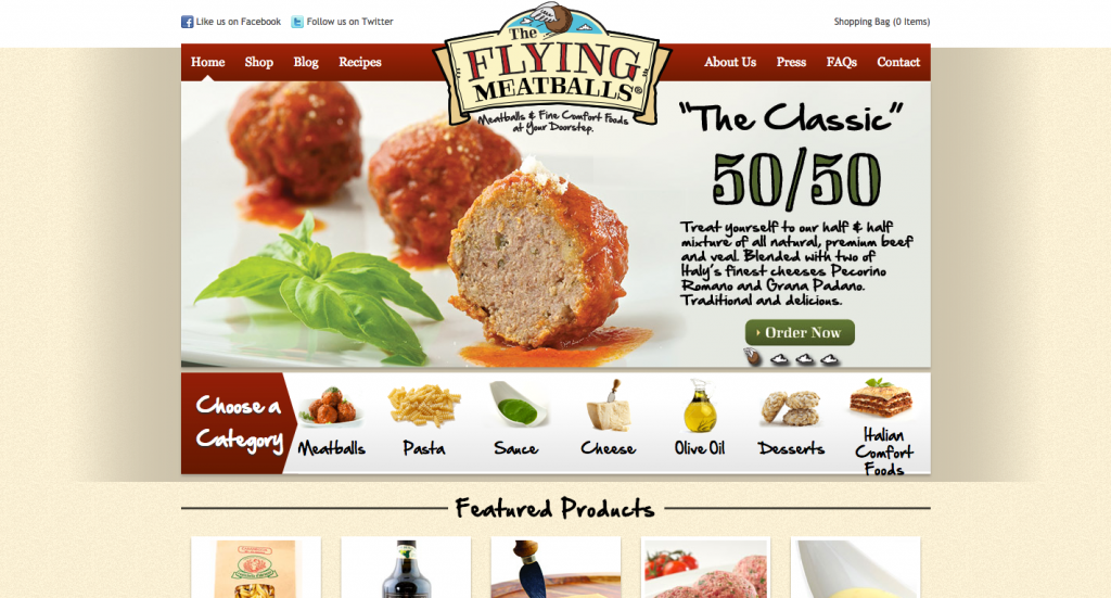 The Flying Meatballs Web Design